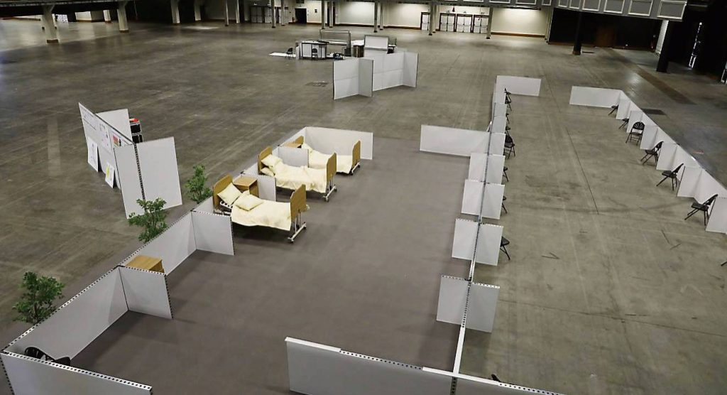 This image show the proposed layout out of hospital beds in HSE isolation facility.