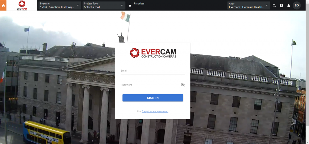 This image shows the Evercam COnstruction cameras login for the dashboard on Procore.