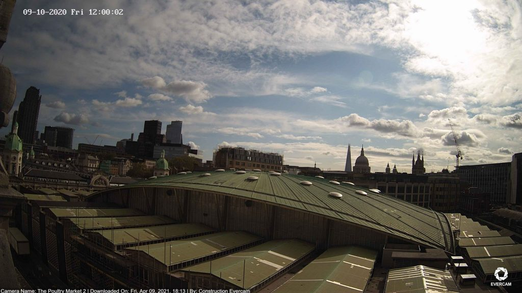 Camera view of the Smithfield Poultry Market roof
