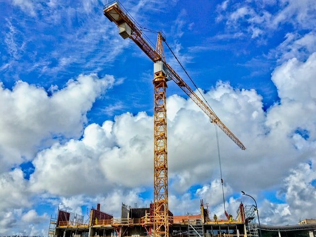 view of a construction tower crane
